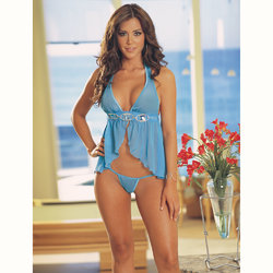 Dreamgirl Chiffon Baby Doll and Thong Set