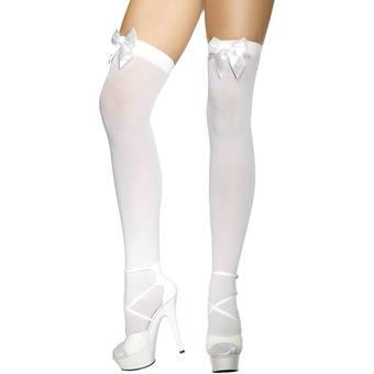 Fever White Stockings with Bow