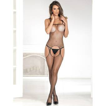 Rene Rofe Industrial Fishnet Crotchless Bodystocking