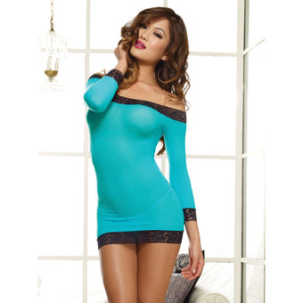 Dreamgirl Pink Diamond Long Sleeved Sheer Chemise Set