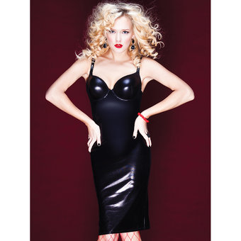 Coquette Darque Wet Look Bra Dress with Corset Back