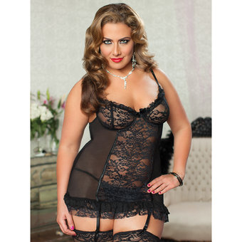 Seven Til Midnight Plus Size Dangerous Fantasy Lace Babydoll Set