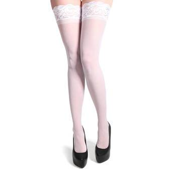 White Thigh High Stockings Bride Wedding Hosiery Frill Top with Ribbon Hold-ups2