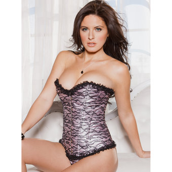 iCollection Lace Overlay Corset with Ruffle Trim