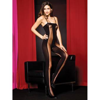 Music Legs - Transparenter, blickdichter Bodystocking ouvert