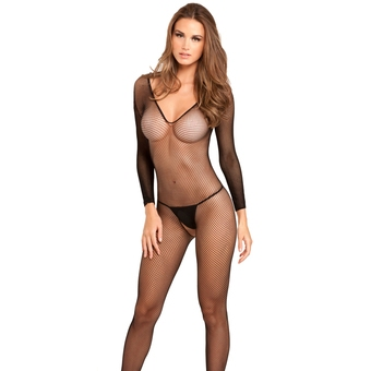 Rene Rofe Black Long Sleeve Fishnet Bodystocking
