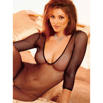 Electric Fishnet Bodystocking with Long Sleeves