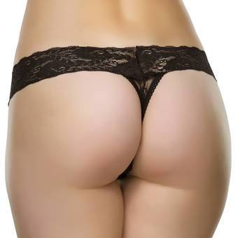 Lovehoney Crotchless Wide Waist Lace Thong
