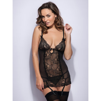 Lovehoney Love Me Lace Chemise Set Black