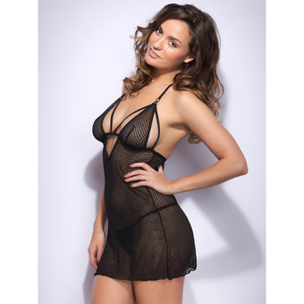 Lovehoney Covet Me Mesh Strappy Babydoll Set Black