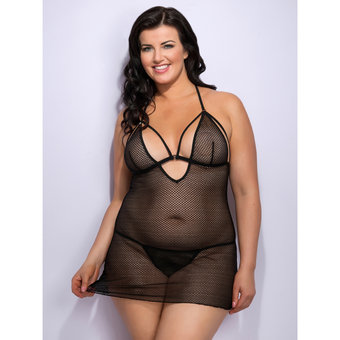 Lovehoney Plus Size Covet Me Mesh Strappy Babydoll Set
