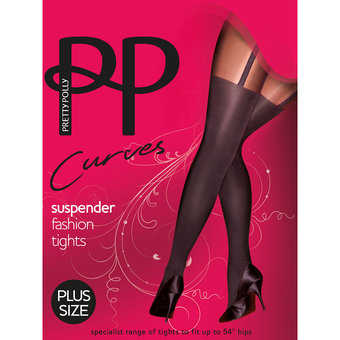 Pretty Polly Curves Plus Size schwarze Strumpfhose mit Strapsdesign