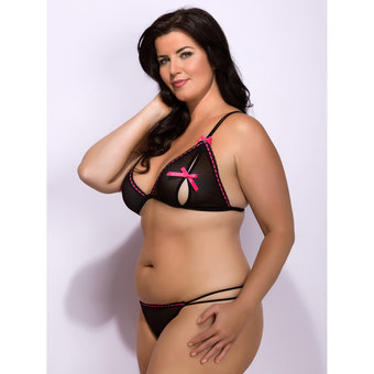 Lovehoney Plus Size Thrill Me Ribbon Slot & Mesh Peephole Bra Set