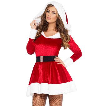 Robe sexy de Noël avec capuche et ceinture