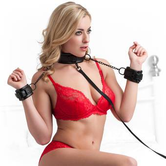 Bondage Boutique Faux Leather Collar and Cuff Set