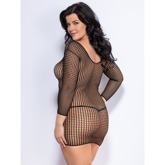 Lovehoney Plus Size Long Sleeve Fishnet Mini Dress