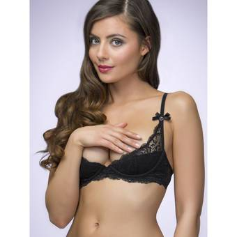 Lovehoney Love Me Lace 1/2 Cup Bra Black