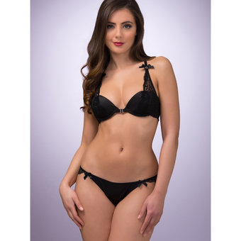 Lovehoney Spoil Me Satin Plunge Bra Black