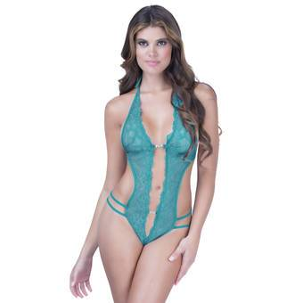 Oh La La Cheri Crotchless Lace Teddy With Diamante Details