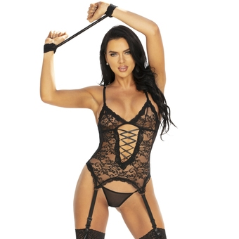 Seven 'til Midnight Midnight Affair Black Lace Basque Set