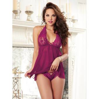 Dreamgirl Raspberry Sheer Lace Babydoll and Knicker Set