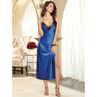 Dreamgirl Satin and Lace Long Sapphire Chemise