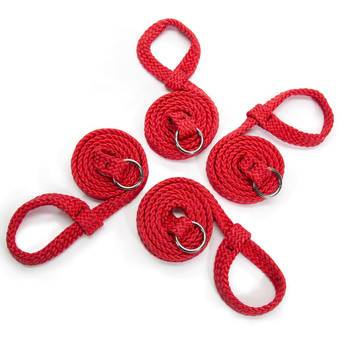 Bondage Boutique Silky Rope Multi Position Restraint Set Red