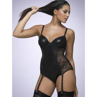 Lovehoney Captivate Me Wet Look and Lace Wired Bodysuit
