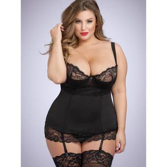 Lovehoney Plus Size Adore Me Underwired Basque Set Black