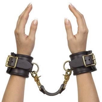 Coco de Mer Brown Leather Wrist Cuffs