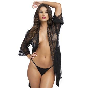 Lovehoney Flaunt Me Black Lace Robe