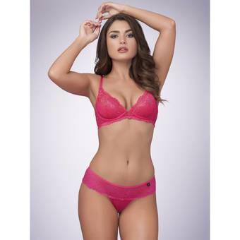 Lovehoney Flirty Underwired Plunge Bra Pink