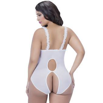 Oh La La Cheri Curves Plus Size White Open Cup Crotchless Lace Teddy