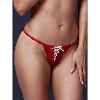 Baci Lingerie Sexy Red Lace Up G-String