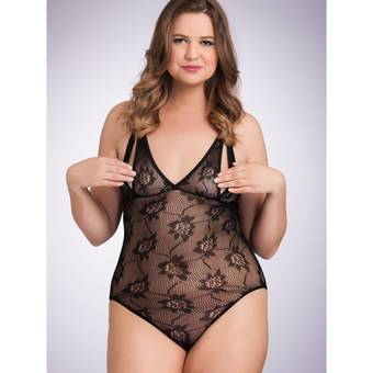 Lovehoney Plus Size Crotchless Peek-a-Boo Bodysuit