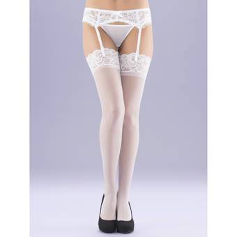Lovehoney White Sheer Lace Top Thigh High Stockings