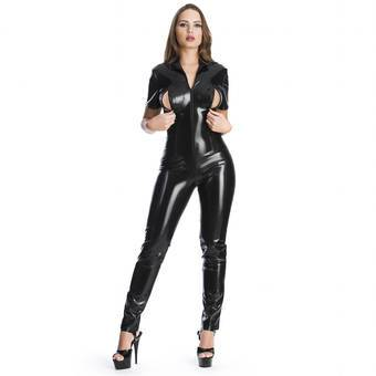 Sexy Latex Catsuit with Soft Lining and Zips Black