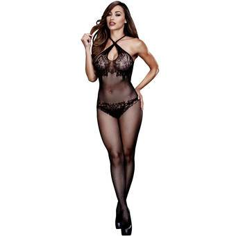 Baci Lingerie Fishnet and Lace Crotchless Halter Bodystocking