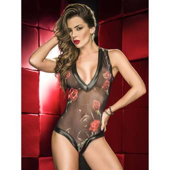 Mapale Wet Look and Floral Mesh Plunge Front Teddy