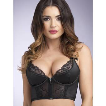 Lovehoney Front-Fastening Satin Longline Bra Black