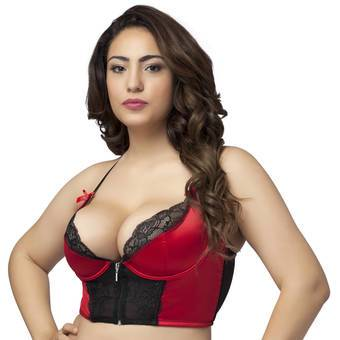 Lovehoney Front-Fastening Satin Longline Bra Red