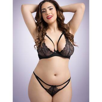 Lovehoney Plus Size Spitzen-BH & Ouvert-String im Set