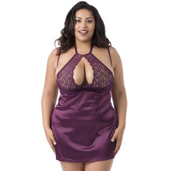 Lovehoney Plus Size Indulge Me Purple Lace Underwired Babydoll Set