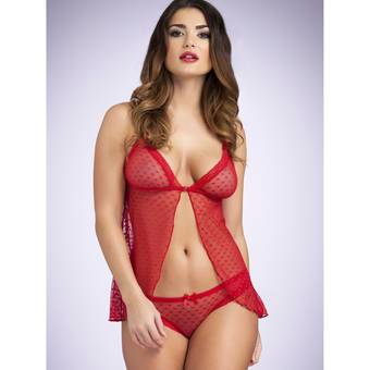 Lovehoney Be Mine Heart Mesh Babydoll and Knicker Set