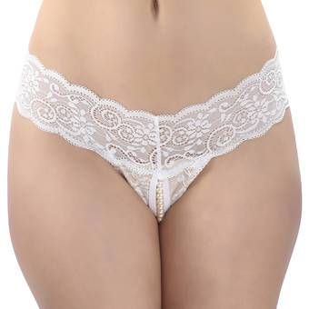 Lovehoney White Crotchless Pearl Thong