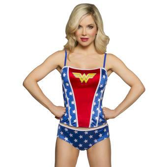 DC Comics Wonder Woman Satin Corset and Shorts Set
