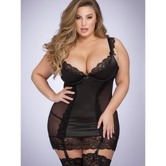 Lovehoney Plus Size Treasure Me Black Underwired Chemise Set