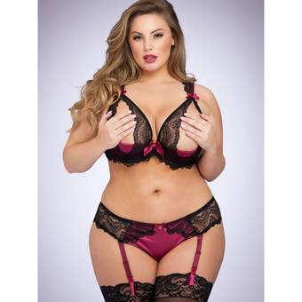Lovehoney Plus Size Moonlight Peekaboo Bra and Garter Panties Set