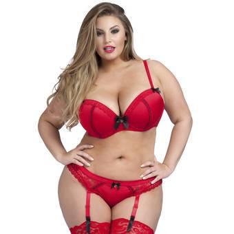Lovehoney Plus Size Seduce Me Red Bra and Suspender Thong Set