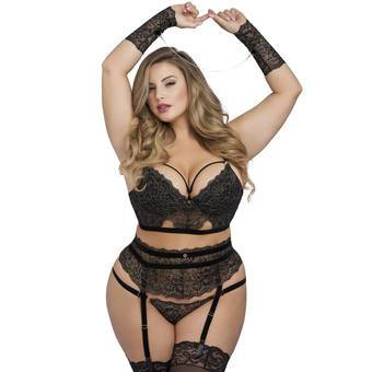 Lovehoney Plus Size Elixir Luxury Lace Bra Set (4 Piece)